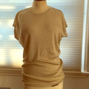 Michael Kors Gold Knit Top XS